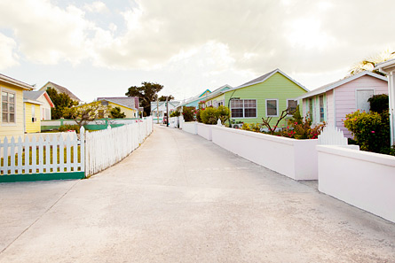 The pastel-color painted houses dot the landscape on Green Turtle Cay.