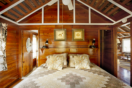 The front bedroom features a comfortable king bed and ceiling fan!