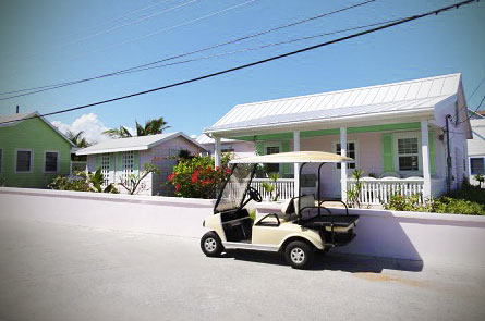 The golf cart is the main method of transportation on Green Turtle Cay.
